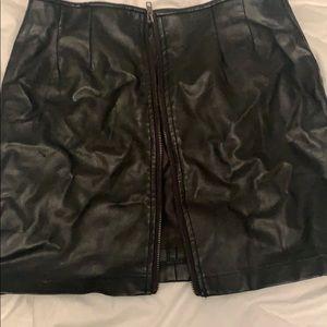 Pleather zip up skirt